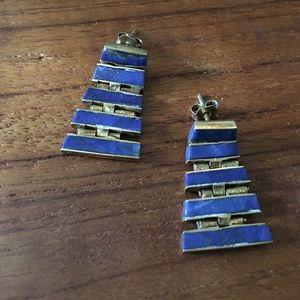 Jewelry - Hinged pyramid studs with lapis inlay